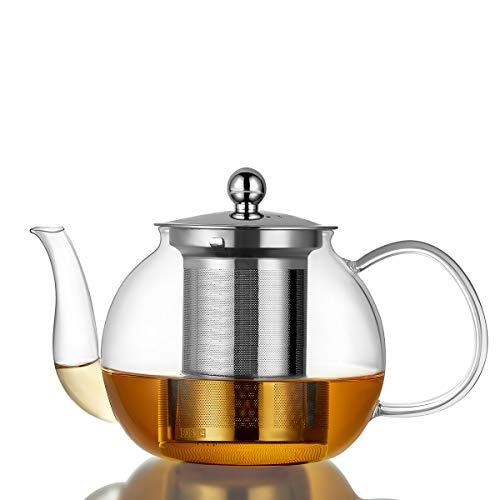 Tetera de vidrio borosilicato de 1100 ml con infusor extraíble, hervidor de té seguro para estufa, boquilla que no gotea, floración y hojas sueltas