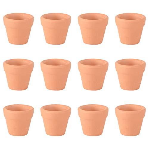 Ounona Set di 12 mini vasi in terracotta, adatti per erbe aromatiche, succulente, per giardini di scuole materne, 3 x 3 cm