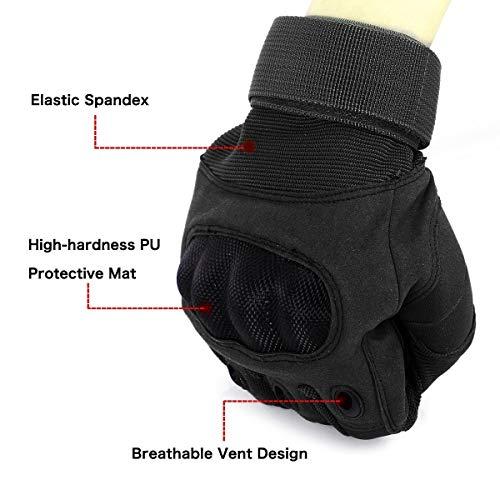 Unigear Taktische Handschuhe mit Klettverschluss Motorrad Handschuhe Army Gloves Sporthandschuhe geeignet für Motorräder Skifahren, Militär, Airsoft (Schwarz-Voll, XL) - 3