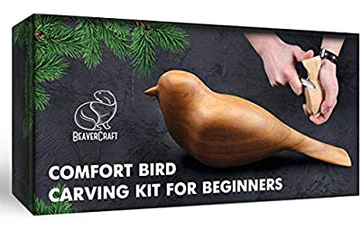 DIY Complete Starter Whittling Kit for Beginners Adults and Teens - Book Fun Whittling Wood Carving Project Carve Bird - Hobby Whittling Knife