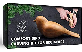 BeaverCraft Wood Carving Kit Comfort Bird DIY - Complete Starter Whittling Knife Kit for Beginners Adults and Teens - Book Fun Project Carve Bird Hobby Whittling Knife - Learning Woodworking for Kids