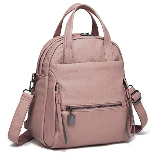 Women Backpack, Kasgo 3-Way PU Leather Backpack Purse Convertible Handbags for Ladies Fashion Rucksack Top-handle Bag Casual Shoulder Bag Girls with Removable Detachable Straps Pink