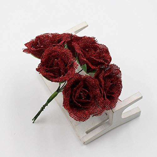 Erfhj Set kunstbloemen, linnen, rozen, boeket bloemen voor decoratie, DIY, slinger, scrapbook, knutseldoos, bloem, rood