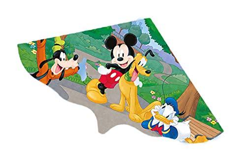 Eva Shop® Cometa infantil premium Mickey Mouse – Cometa de un solo cuerda, de poliéster, para niños, con mango enroscable y cordón de dragón, 115 x 63 cm