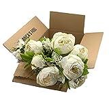 Ramo de Flores Peonía Artificial Vintage para decoración del Hogar, Bodas, Fiestas (Blanco Cream)