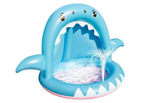 GLYHVXZ Piscina Infantil, Piscina Hinchable Infantil Tiburón con Techo de Protección Solar Piscina Bebe con Chorro de Agua Piscina Niños para Balcón, Jardín, Ducha, Terraza (140 * 100 * 90cm)