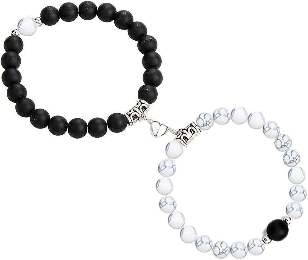 Modpide 2 Pcs Magnetic Couples Bracelets for Women Men Matching Distance Relationship Bracelets for Boyfriend Girlfriend