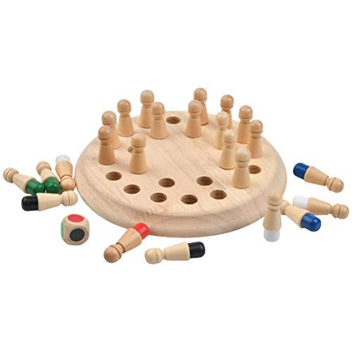 FOROREH Gedächtnis-Spielzeug Schachbrett Spielzeug Memory Schach Gedächtnis-Schach, Holz Memory Match,...