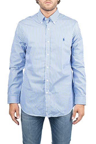 Polo Ralph Lauren Camicia Cotone con Ricamo Logo Frontale, Fantasia a Righe, Collo Classico, Chiusura Bottoni Frontale, Maniche Lunghe M