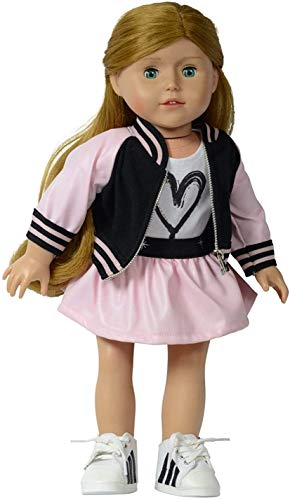 The New York Doll Collection Bomberjacken-Set (Pink) für Mode-Mädchenpuppen – inklusive Jacke, T-Shirt und Rock – passend für alle 46 cm Puppen – Puppenkleidung – Puppenzubehör