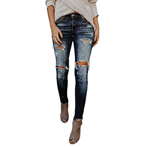 Risthy Pantalones Vaqueros Mujer Slim Fit Flaco Pantalones Largos Lapiz Vaqueros Rotos Elasticos Stretch Jeans Pantalones Vaqueros Mujer De Vestir Invierno Vaqueros