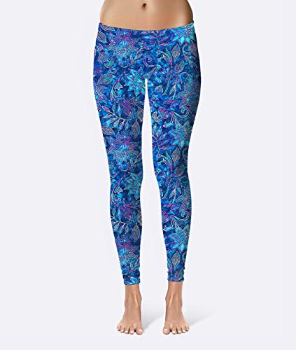 Batik Floral Premium Women's High Waist Leggings featuring original design by Artist Dan Morris