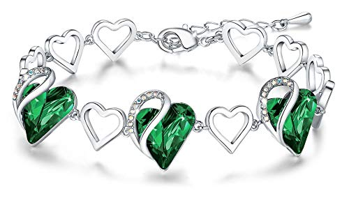 Leafael Infinity Love Heart Link Bracelet with Emerald Green Birthstone Crystal for May Birthstone, Women's Gifts, Silver-tone, 7' with 2' Extender
