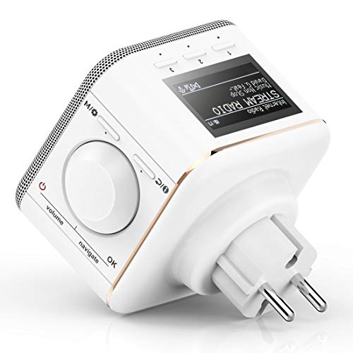 Hama Steckdosenradio Internetradio klein WLAN Plug in (Smart Radio mit Bluetooth/AUX/USB/Spotify/Multiroom/Netzwerkstreaming, Radio-Wecker, beleuchtetes Display, geeignet für die Steckdose) weiß