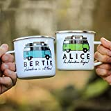 Personalised Campervan Enamel Mug - Travel & Adventure - Gift For Him or Her - Add Name and Text - Unique Custom Present