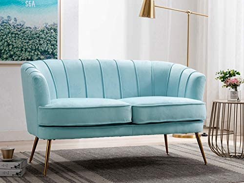 Best Altrobene Loveseat Sofas, Modern Club Couch with Golden Finished Metal Legs, Velvet Upholstered, Cur