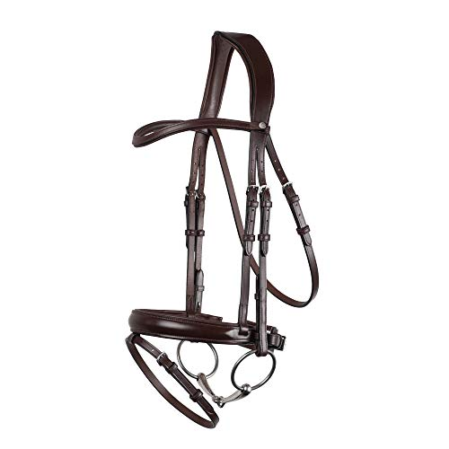 MONTAR Normandie Dressage Eco Leather Snaffle Bridle Cob Brown