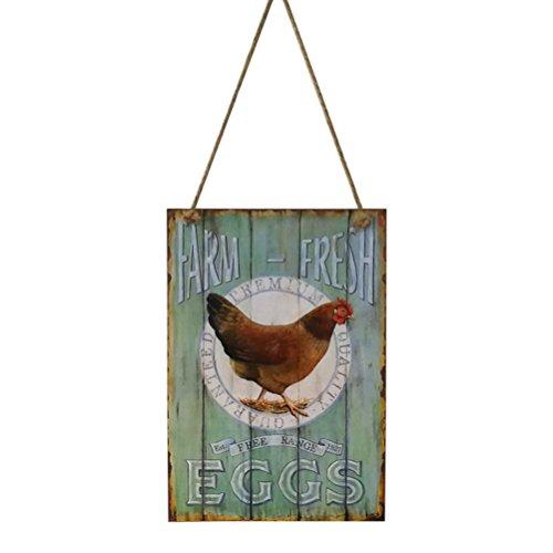 VORCOOL Cartel de madera con diseño de granja y huevos frescos con grifo vintage shabby chic