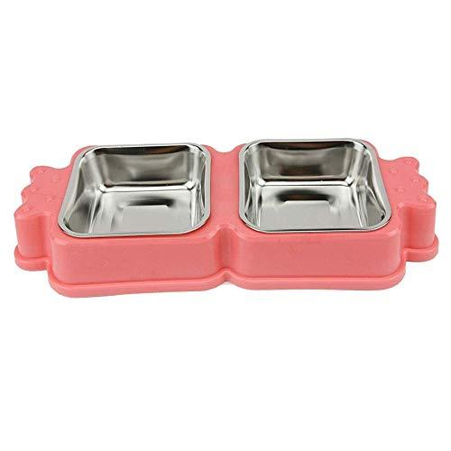 Futternapf für Katze Fressnäpfe, Double Dog Cat Bowls doppelt Premium Edelstahl-Fressnäpfe mit nettem Modelling Pet Food Wasser Felchen- Rosa