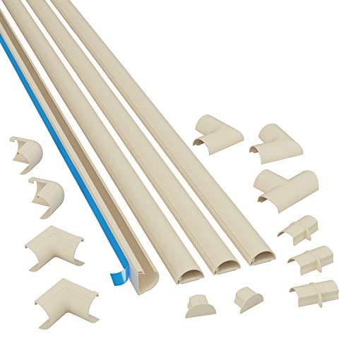 D-Line 2010KIT003 Selbstklebender, Runder Magnolia Kabelkanal, 20x10 mm, 4 x 1 m Länge, 4 Stück