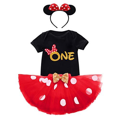 FYMNSI Baby Mädchen 1. Geburtstag Party Outfit Minnie Maus Kostüm Baumwolle Kurzarm Body Strampler Prinzessin Tütü Tüll Rock Schleife Stirnband 3tlg Bekleidungsset Fotoshooting Schwarz