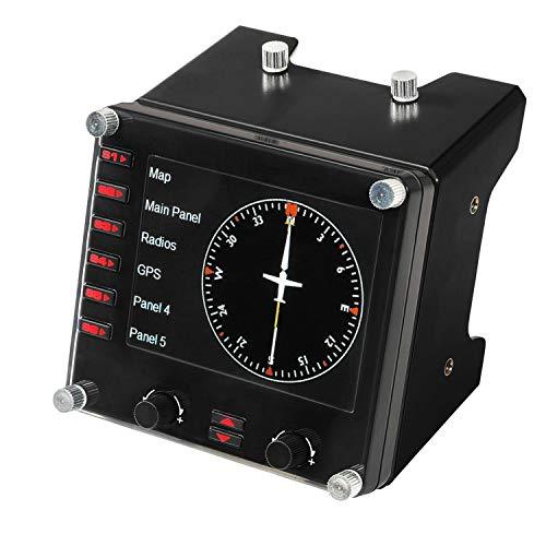 Logitech G Saitek Pro Flight Instrumenten-Panel, Steuerpanel für Flug Simulatoren, 3.5 Zoll LCD-Farbdisplay, 15 Anzeigeoptionen, USB-Anschluss, Erweiterbar, PC, Schwarz
