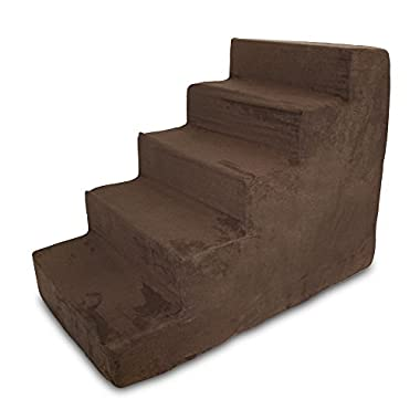 Best Pet Supplies ST200T-L Foam Pet Stairs/Steps, 5-Step, Dark Brown