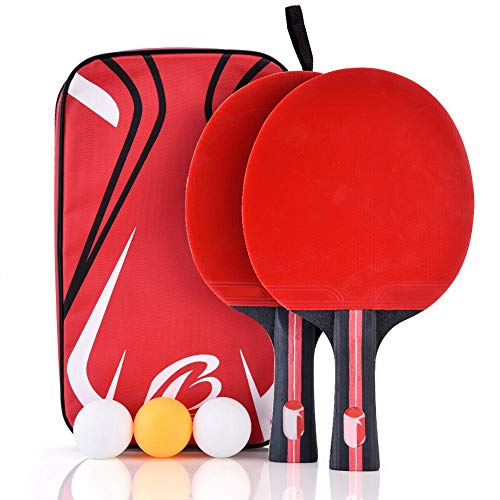 %9 OFF! Vikye Ping Pong Paddles, 2-Player w/ 3 Balls Poplar Wood & Rubber Wear Resistant Ping Pong P...