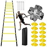 Escalera de Agilidad de fútbol, Escalera de Entrenamiento de Agilidad de Velocidad, Escalera de Entrenamiento 6M, 10 Conos de Disco, paracaídas de Arrastre, 4 Pilas de Acero y Bolsa de Transporte