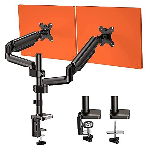 TabloKanvas Soporte de monitor de doble brazo con movimiento completo ajustable de gas muelle Monitor elevador con abrazadera C/base de ojal (color negro)