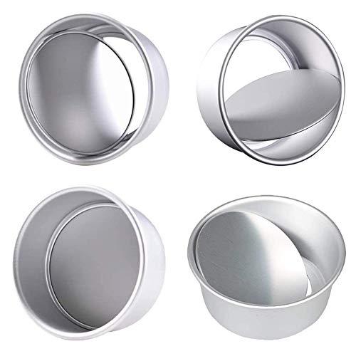 JAHEMU Redondo Aluminio Molde de Horno Antiadherente Set 4 Piezas, Base Desmontable Moldes para Pan, Conveniente para Boda Cumpleaños Pastel, 4 Pulgada