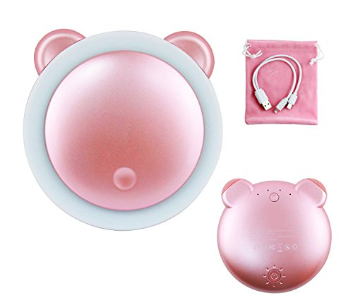 Furein Espejo de maquillaje con luz LED y batería externa portátil 3000mAh 93x93x25mm con cable USB incluido (ROSA)