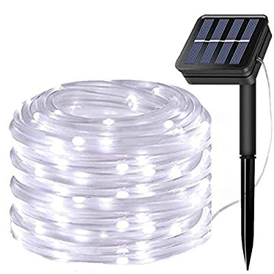 LiyuanQ Solar String Lights Outdoor Rope Light, 100 LED Waterproof Tube Lights Copper Wire Automatic Switch Fairy Indoor Decoration Light Christmas Tree Ornaments Gifts Party Thanksgiving(Cool White)