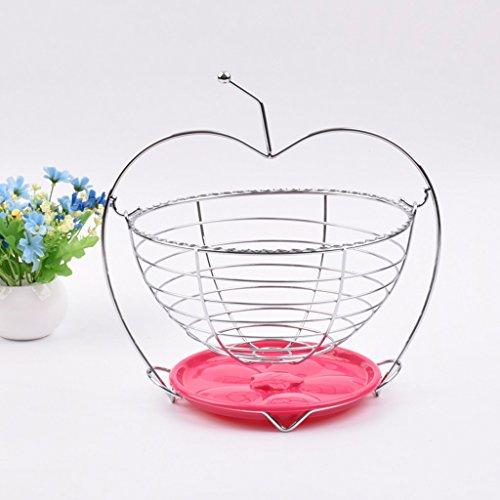 Hangmat-fruitmand met handgreep, ronde zilveren bewaarmand, huishoudartikelen, drainage groentemand, chroom