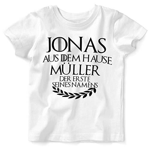 Mikalino Baby/Kinder T-Shirt mit Spruch für Jungen Mädchen Unisex Kurzarm Individueller Name 'aus dem Hause | handbedruckt in Deutschland | Handmade with Love, Farbe:Weiss, Grösse:80/86