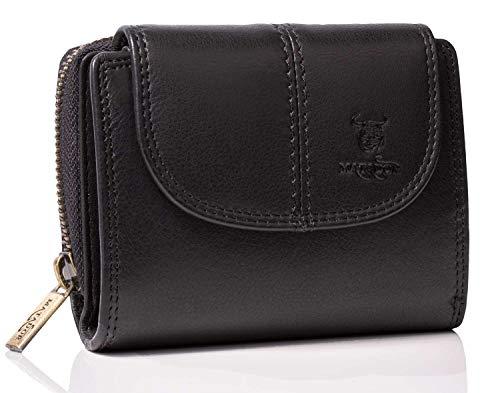 MATADOR Echt Leder Damen Geldbörse TüV Geprüfter RFID/NFC Schutz Brieftasche Frauen Kompakt Größe Portemonnaie Hochformat (Schwarz)