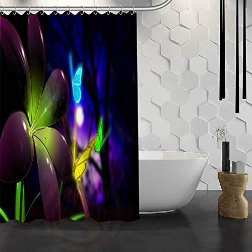 floolter Flores de Colores Elegante Mariposa Cortina de Ducha Tela Impermeable Cortina de baño 180 * 200 cm