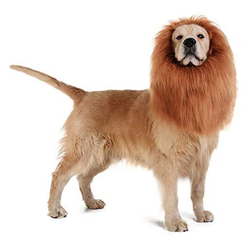 Disfraz de melena de león realista y divertido para perros mascotas lavable con pelo de león, para perros pequeños, medianos y grandes (marrón)