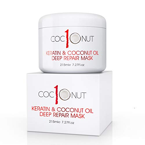Hair Mask with Coconut Oil and Keratin Protein - Hydrating Deep Conditioning Treatment Mask - Intensive Moisturising Repair for Dry, Damaged Hair, Split Ends, Curls and Colour-Treated Hair - 215ml