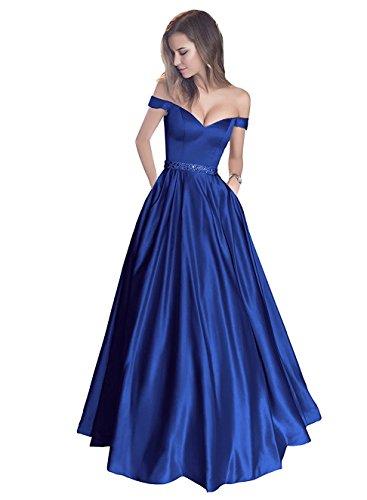 Callmelady Abendkleider Elegant für Hochzeit Lang Ballkleider Cocktailkleider Damen mit Taschen (Königsblau, EU40)