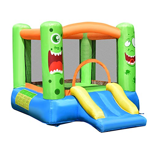 Costzon Inflatable Bounce House Castle Jump and Slide Bouncer with Oxford Mesh Wall Ideal for Indoor amp Outdoor Use Including Oxford Carrying Bag Repair Kit Stakes Without Air Blower