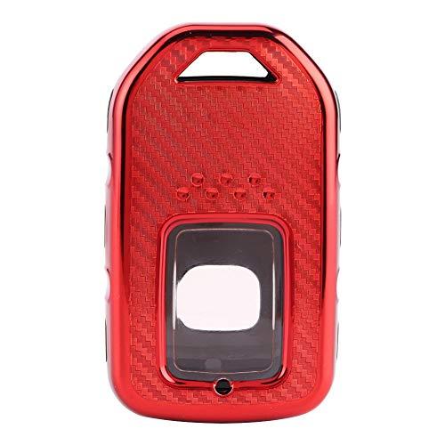 Cubierta del llavero, TPU Estilo de fibra de carbono Cubierta del llavero del coche Estuche protector Reemplazo de la caja protectora Ajuste para Accord/Civic/CR-V(rojo)