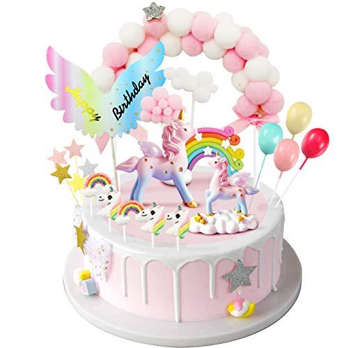 iZoeL Cake Topper Torta Unicorno Kit, Nuvola Arcobaleno Palloncino Happy Birthday Banner, Decorazione Torta di Compleanno per Ragazza, Donne