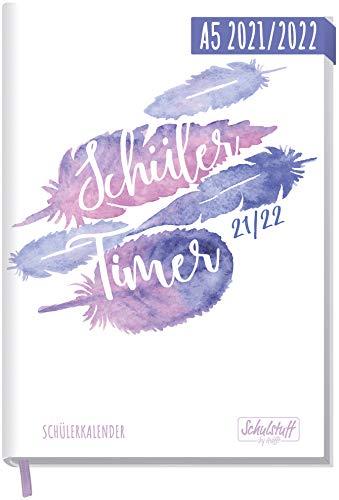 Schulstuff Schülertimer 21/22 A5 [Feathers] Schülerkalender, Schüler-Tagebuch, Schülerplaner - Organisiert durchs neue Schuljahr | nachhaltig & klimaneutral