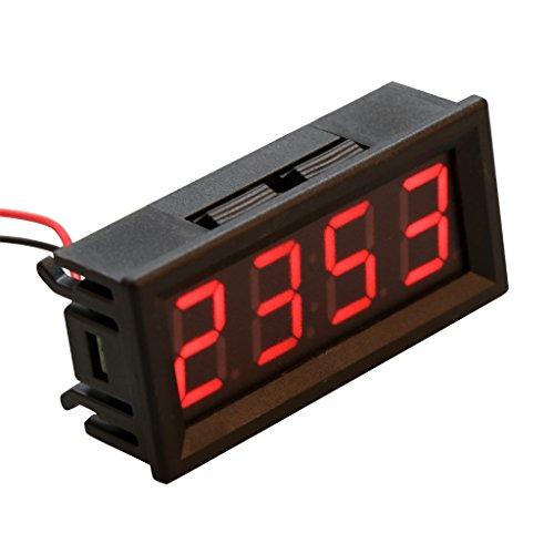 LAOSI Reloj electrónico digital de 0,5 pulgadas, medidor de voltaje de temperatura, LED, 12 V, 24 V, 36 V, 48 V, para coche rosso