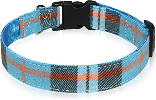 Taglory Hundehalsband, Verstellbare Nylon Hunde Halsband für Mittel Hunde, Haze Blue Gitter