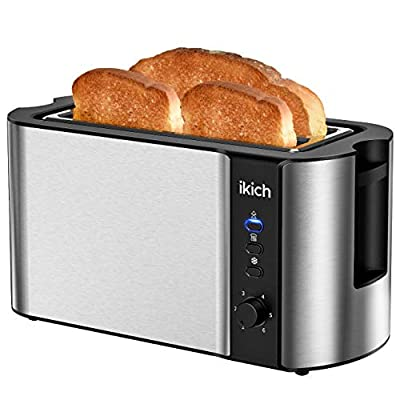 4-Slice Toaster IKICH, 4 Slice Brushed Stainless Steel Toasters, High Gloss Plastic (Warming Rack/6 Variable Brownings, Defrost/Reheat/Cancel, Removable Tray, High Lift/Cool Touch/Silver&Black)