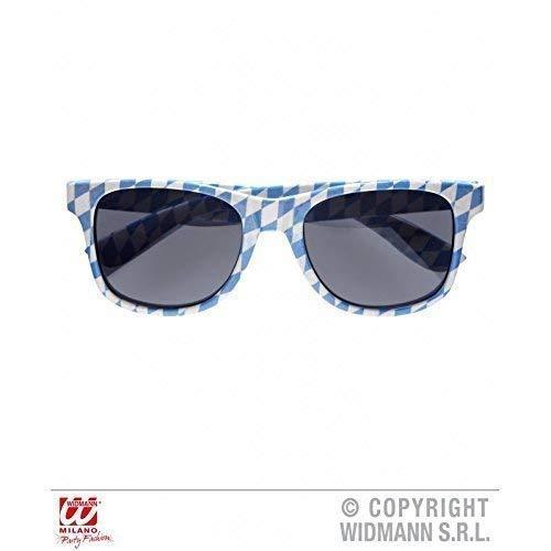 Lively Moments Brille / Sonnenbrille / Spaßbrille im blau - weißen Rautenmuster / Oktoberfest / Kostümzubehör
