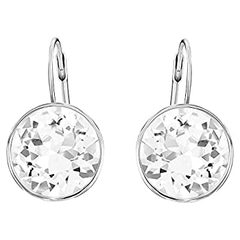 Swarovski Bella Drop Pierced Earrings with Round White Swarovski Crystals on a Rhodium Plated Setting with a Lever Back Closure