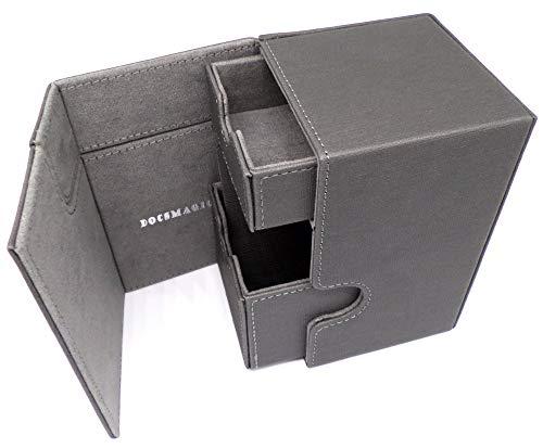 docsmagic.de Premium Magnetic Tray Box (100) Silver + Deck Divider - MTG - PKM - YGO - Porta Mazzo Argento